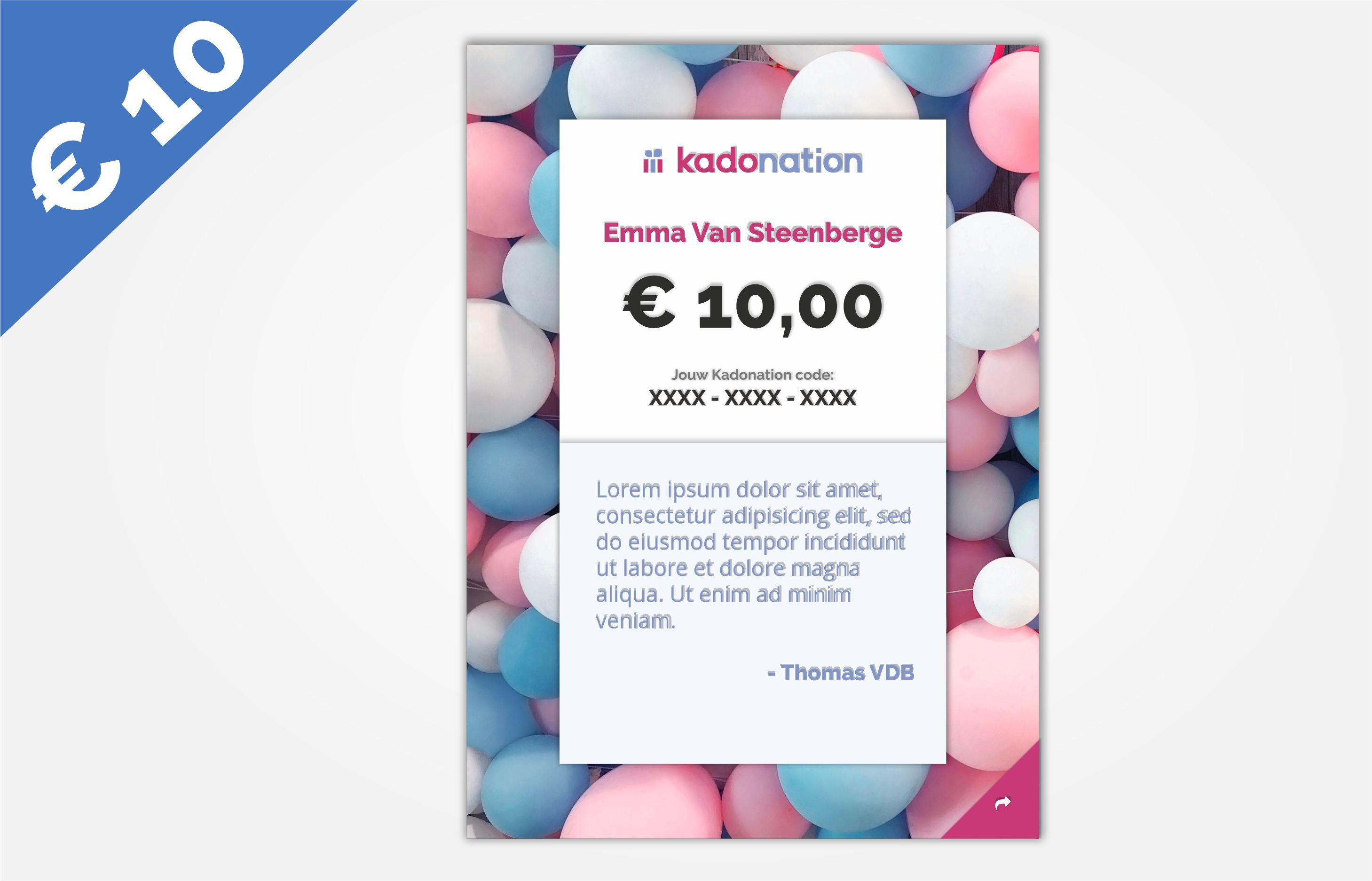 Kadonation gift card 10 euros